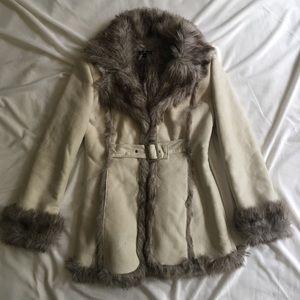 Bebe Long Faux Shearling Coat